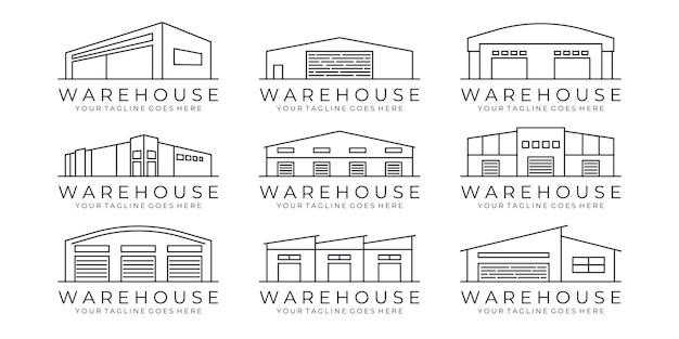 Conjunto de logotipo de ícone de arte de linha de armazém ilustração em vetor de design
