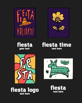 Conjunto de logotipo de ícone de festa