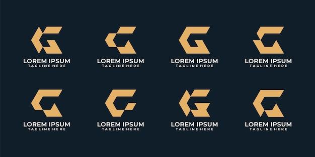 Conjunto de logotipo de identidade da empresa com letra g moderna