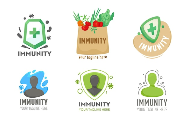 Conjunto de logotipo de imunidade para serviço de saúde. , coleção de ícones de cuidados de saúde, defesa do corpo de saúde, prevenção de doenças