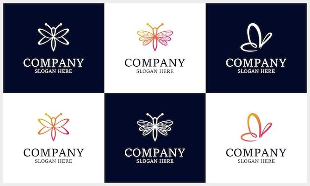 Conjunto de logotipo de inseto, libélula gradiente, modelo de design de logotipo de borboleta
