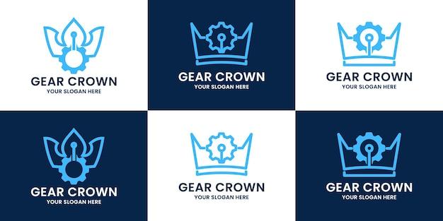 Conjunto de logotipo de inspiração da coroa da engrenagem