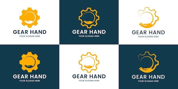 Conjunto de logotipo de inspiração de mão de engrenagem