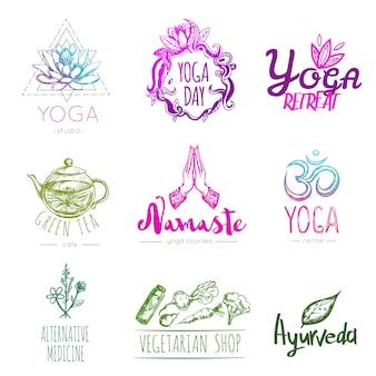 Conjunto de logotipo de ioga de esboço