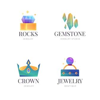 Conjunto de logotipo de joias gradiente