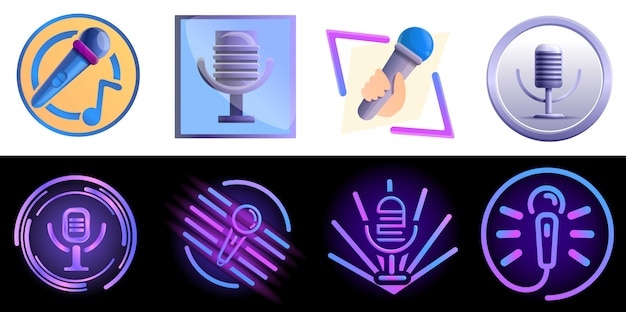 Conjunto de logotipo de karaoke, estilo cartoon