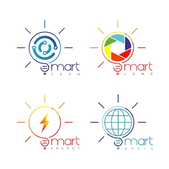 Conjunto de logotipo de lâmpada