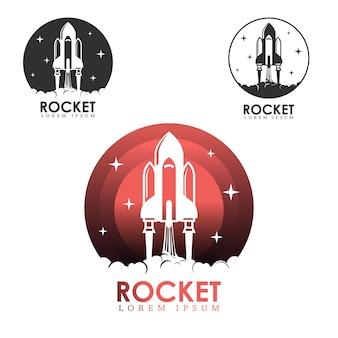 Conjunto de logotipo de lançamento de foguete