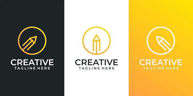 Conjunto de logotipo de lápis criativo