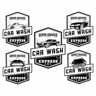 Conjunto de logotipo de lavagem de carro