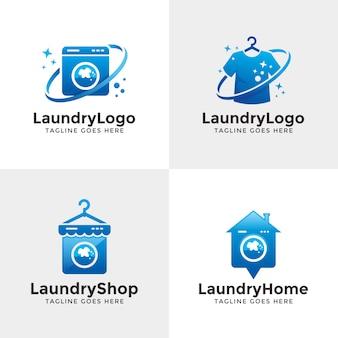 Conjunto de logótipo de lavandaria