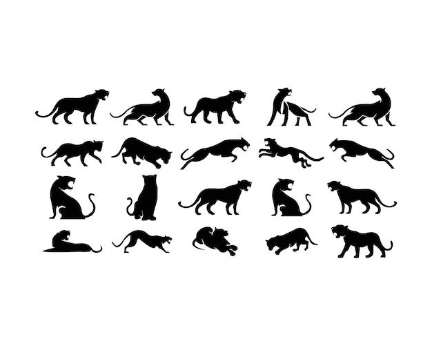 Conjunto de logotipo de leopardos