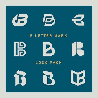 Conjunto de logotipo de letra b