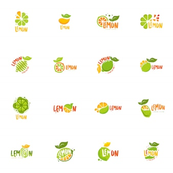 Conjunto de logotipo de limão