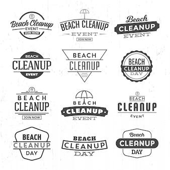 Conjunto de logotipo de limpeza de praia