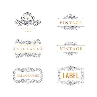 Conjunto de logotipo de linha de luxo caligráfico