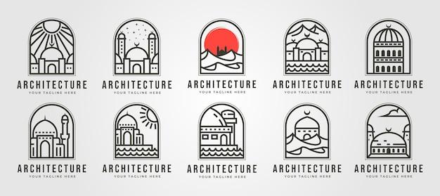 Conjunto de logotipo de linha de mesquita islâmica