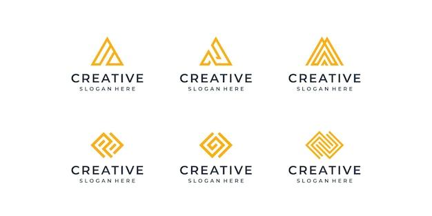 Conjunto de logotipo de linha moderna. coleção de monogramas criativos com a letra a