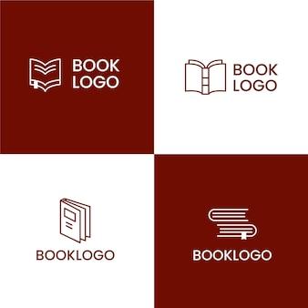 Conjunto de logotipo de livro de design plano