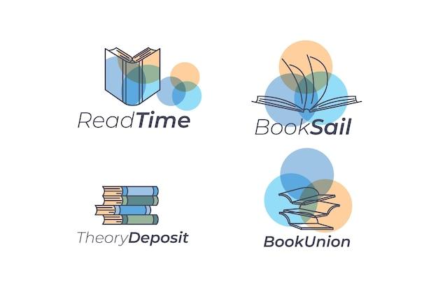 Conjunto de logotipo de livro plano
