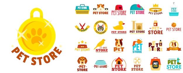 Conjunto de logotipo de loja de animais