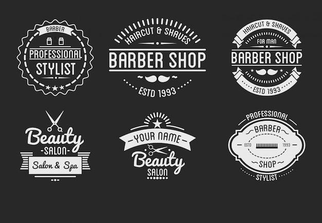 Conjunto de logotipo de loja de barbeiro vintage e distintivos de salão de beleza spa.
