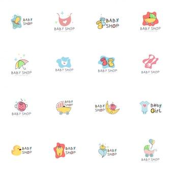 Conjunto de logotipo de loja de bebê