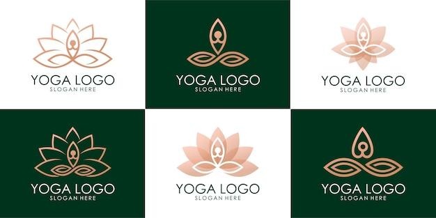 Conjunto de logotipo de lótus combinado humano de ioga dourada. vetor premium
