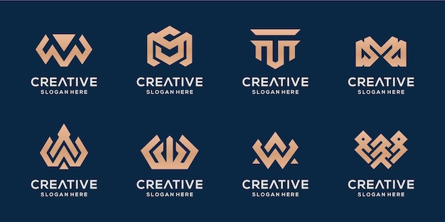 Conjunto de logotipo de luxo das letras m e w monoline