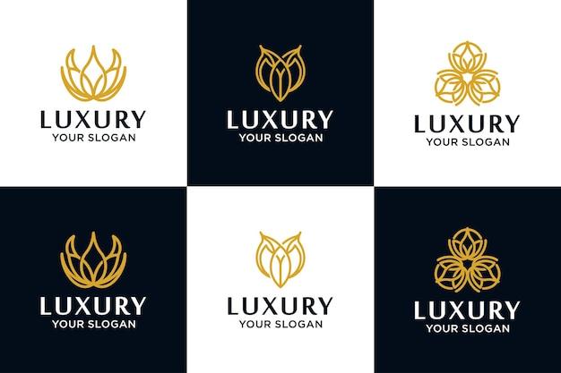 Conjunto de logotipo de luxo. elementos de decoração elegante de padrão caligráfico. enfeite vintage