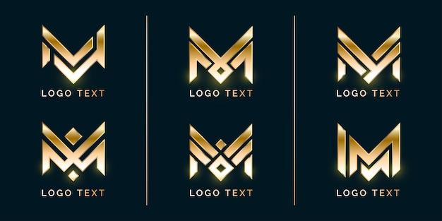 Conjunto de logotipo de luxo m