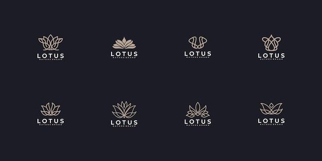 Conjunto de logotipo de luxo minimalista