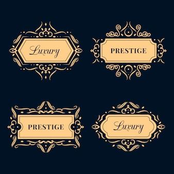 Conjunto de logotipo de luxo retrô