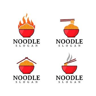 Conjunto de logotipo de macarrão