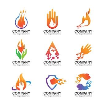 Conjunto de logotipo de mão, ícones de mão abstrata, modelo de design de mão