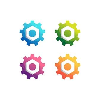 Conjunto de logotipo de máquina de engrenagem