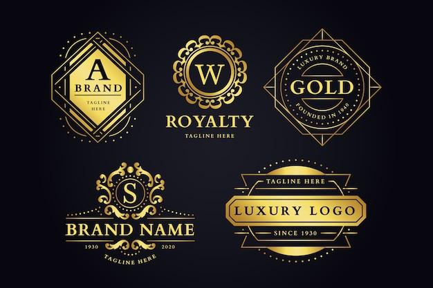 Conjunto de logotipo de marca retrô luxuoso