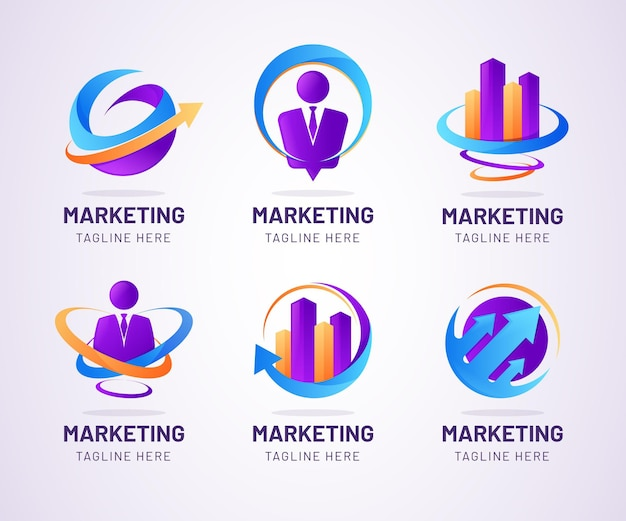Conjunto de logotipo de marketing em gradiente