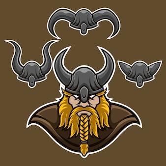 Conjunto de logotipo de mascote de cabeça de leme viking