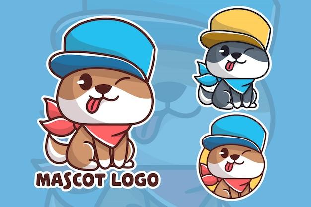Conjunto de logotipo de mascote de cachorro fofo