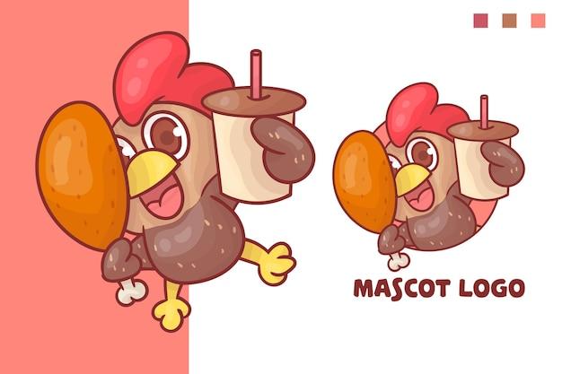 Conjunto de logotipo de mascote de café de frango bonito com aparência opcional.