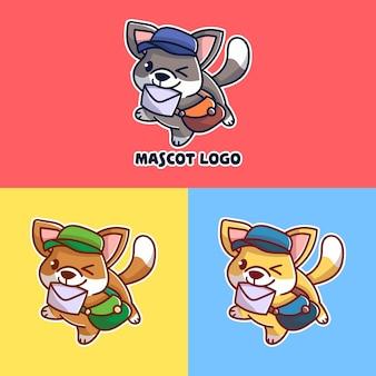 Conjunto de logotipo de mascote de cão post fofo com apreciação opcional.