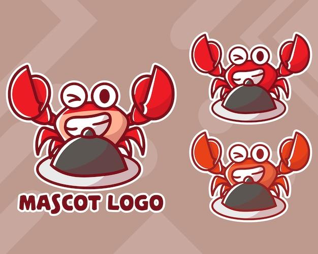 Conjunto de logotipo de mascote de caranguejo fofo com aparência opcional.