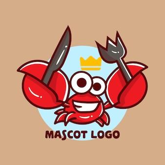 Conjunto de logotipo de mascote de caranguejo fofo comendo com apreciação opcional.