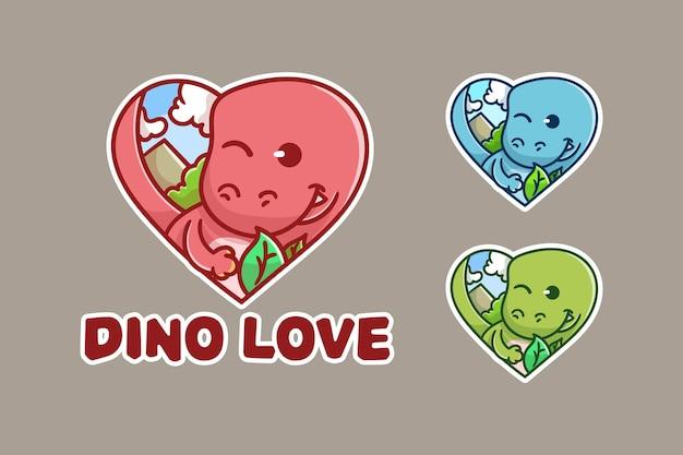 Conjunto de logotipo de mascote de coração de dino fofo com aparência opcional.
