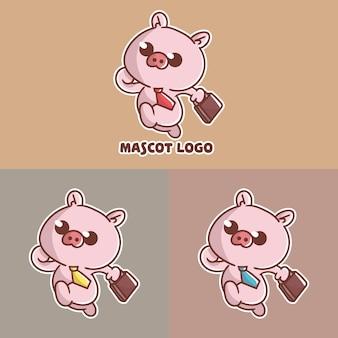 Conjunto de logotipo de mascote de escritório de porco fofo