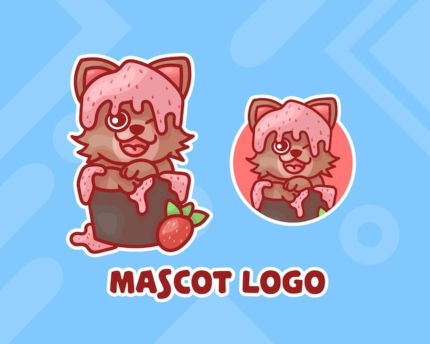 Conjunto de logotipo de mascote de gato de sorvete fofo