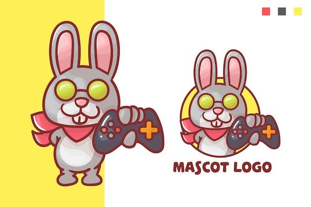 Conjunto de logotipo de mascote de jogo de coelho fofo com aparência opcional.