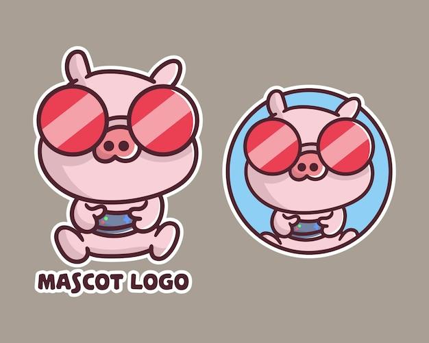 Conjunto de logotipo de mascote de jogos de porco bonito com apreciação opcional.