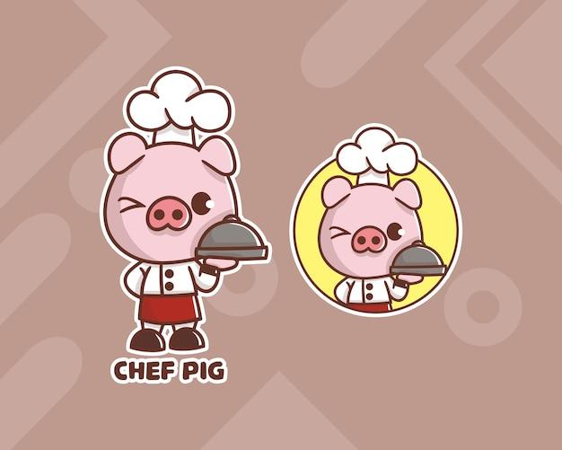 Conjunto de logotipo de mascote de porco chef bonito com aparência opcional.